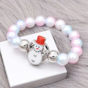 Christmas 20MM design Snowman Red and white enamel KC9254 snaps jewelry