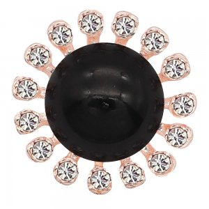 20MM design snap rose-gold plated With black rhinestones charms KC8102 snaps jewelry