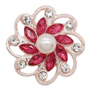 20MM flowers snap rose-gold plated with Rose rhinestone And pearls KC9265 charms snaps jewelry