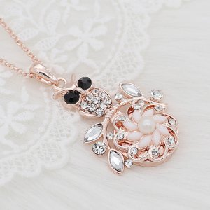 20MM flowers snap rose-gold plated with White rhinestone And pearls KC9263 charms snaps jewelry
