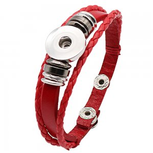 1 buttons red leather KC0282 with Small Pendants new type bracelets fit 20mm snaps chunks