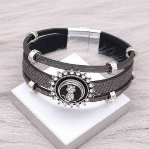 1 buttons Black leather KS0668-S with Small Pendants new type bracelets fit 12mm snaps chunks