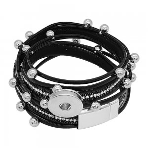 1 buttons Black leather KC0521 with Small Pendants new type bracelets fit 20mm snaps chunks