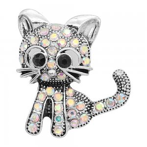 20MM design Cat metal silver plated snap with colorful rhinestone KC9293 charms snaps jewelry