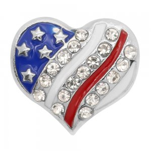 20MM design National flag heart-shaped metal silver plated snap with White rhinestone Enamel KC9297 charms snaps jewelry