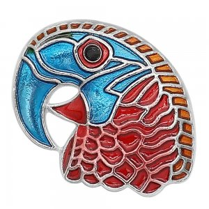 20MM design Parrot metal silver plated snap with Blue and red Enamel KC9296 charms snaps jewelry