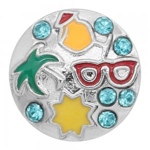 20MM design metal silver plated snap with Green red yellow Enamel KC9299 charms snaps jewelry