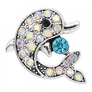 20MM design Dolphin metal silver plated snap with colorful rhinestone KC9294 charms snaps jewelry