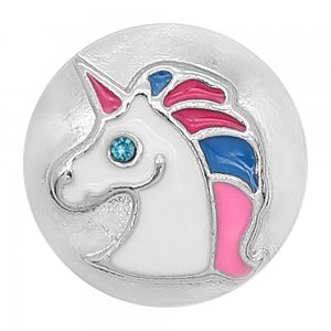 20MM design Unicorn metal silver plated snap with White, pink and blue Enamel KC9298 charms snaps jewelry