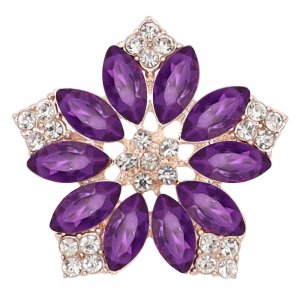 20MM flowers snap Golden Plated with  purple rhinestone KC9289 charms snaps jewelry