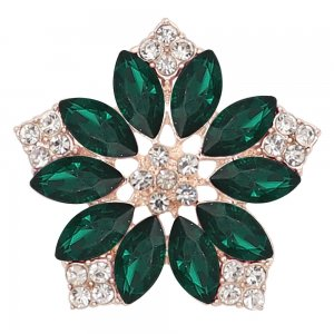 20MM flowers snap Golden Plated with  Dark green rhinestone KC9286 charms snaps jewelry
