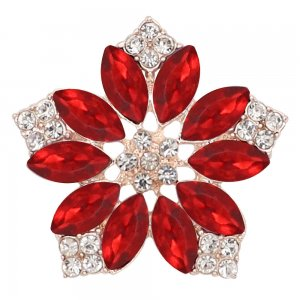 20MM flowers snap Golden Plated with  Red rhinestone KC9287 charms snaps jewelry