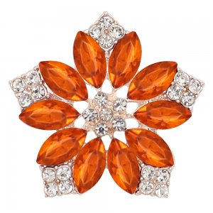 20MM flowers snap Golden Plated with  Orange rhinestone KC9290 charms snaps jewelry