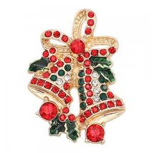 Christmas 20MM Bell snap gold Plated With  rhinestones enamel KC8105 charms snaps jewelry