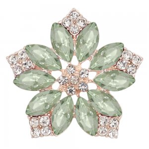 20MM flowers snap Golden Plated with green rhinestone KC9285 charms snaps jewelry