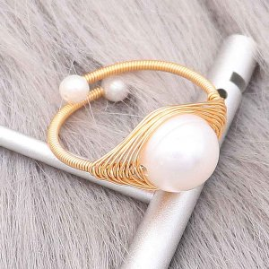 Nature Pearl Ring made of  wrap copper wire gold plating adjustable size