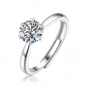 1 CT D 6.5mm  Moissanite Diamond Sterling Silver Classic Ring  Platinum plating adjustable size