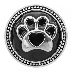20MM Bear paw print snap silver Plated with Black enamel charms KC9304 snaps jewerly