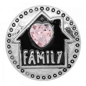 20MM Family snap silver Plated Pink heart-shaped rhinestones with Black enamel charms K9312 snaps jewerlCy
