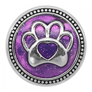 20MM Bear paw print snap silver Plated with purple enamel charms KC9303 snaps jewerly