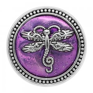 20MM Dragonfly snap silver Plated with purple enamel charms KC9302 snaps jewerly