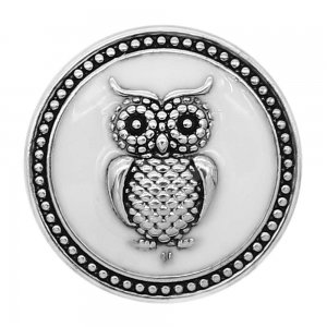20MM Owl snap silver Plated with White enamel charms KC9306 snaps jewerly