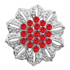 20MM Flowers snap silver Plated Red rhinestones charms KC9316 snaps jewerly