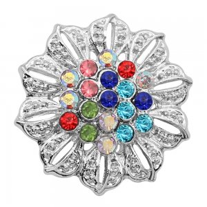 20MM Flowers snap silver Plated Mulitcolor  rhinestones charms KC9315 Multicolor