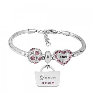 Stainless steel Charm Bracelet with 3 charms queen love purple completed cartoon