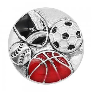 20MM snap silver Plated sports Charms de esmalte rojo KC8111 se ajusta a presión