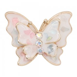 20MM snap gold Plated  Butterfly White enamel with shell charms KC8115 snaps jewerly