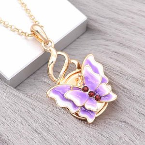 20MM snap gold Plated Butterfly purple enamel charms KC8116 snaps jewerly