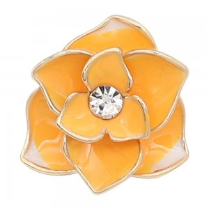 20MM snap gold Plated  Flowers yellow enamel with With  rhinestones KC8123 snaps jewerly