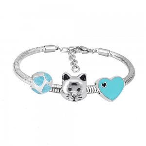 Stainless steel Charm Bracelet with blue cat 3 charms completed cartoon