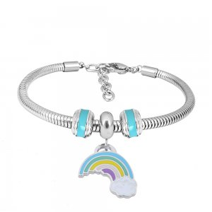 Stainless steel Charm Bracelet with Blue rainbow 3 charms completed cartoon