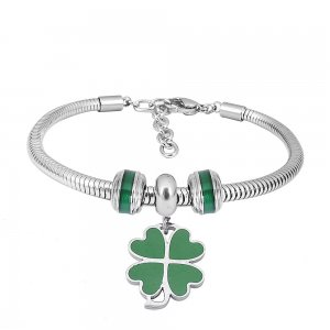 Stainless steel Charm Bracelet with Green lucky grass 3 charms completed cartoon
