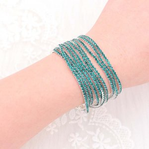 10 pcs/ lot Rhinestones Sparkling  Elastic Bracelet with 80pcs Light green rhinestones