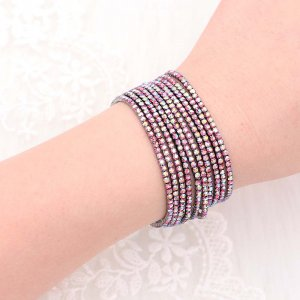 10 pcs / lot Strass Sparkling Elastic Bracelet avec des strass colorés 80pcs Rose