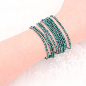 10 pcs/ lot Rhinestones Sparkling  Elastic  Bracelet with 80pcs Green rhinestones
