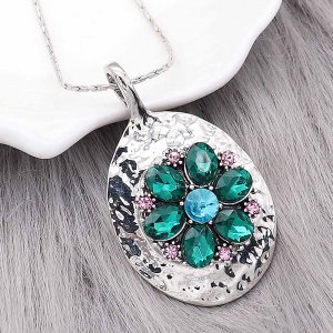 20MM Flowers snap silver Plated With Green rhinestones charms KC9321 snaps jewerly
