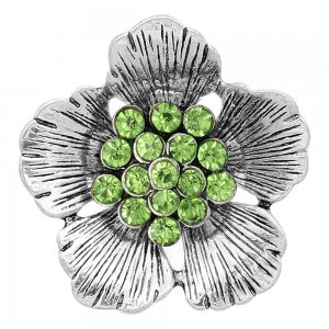 20MM Flowers snap silver Plated With Green rhinestones charms KC8153 snaps jewerly
