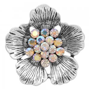 20MM Flowers snap silver Plated With Mulitcolor rhinestones charms KC8149 snaps jewerly