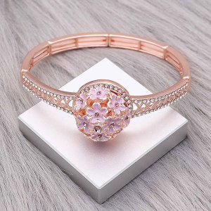 20MM Flowers snap rose-gold plated Plated With purple rhinestones enamel charms KC8147 snaps jewerly