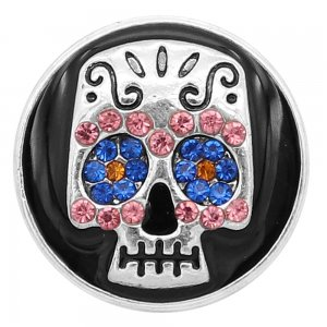 20MM Skull snap silver Plated With  rhinestones Black enamel charms KC8143 snaps jewerly