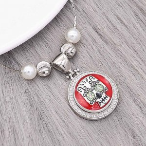 20MM Skull snap silver Plated With rhinestones red enamel charms KC8141 snaps jewerly