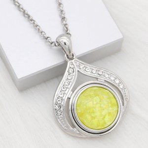 20MM snap Silver Plated With Yellow Shell charms KC2179 snaps jewerly Opal