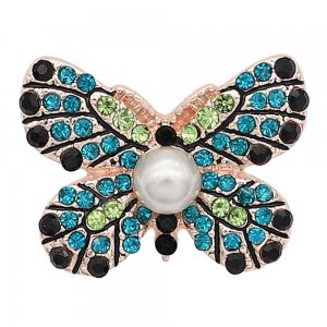 20MM Butterfly Gold snap Plaqué de strass et de perle KC8057 Cyan