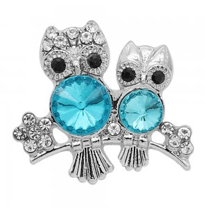 20MM Owl snap Silver Plated With blue rhinestones charms KC9340 snaps jewerly