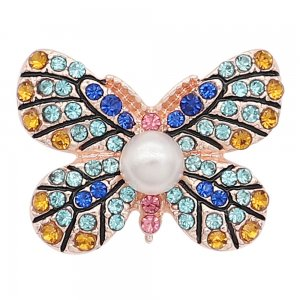 20MM  Butterfly rose-gold plated snap Plated with blue rhinestone Pearl  KC8056 snaps jewelry