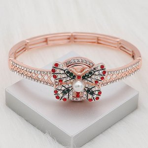 20MM Butterfly plaqué or rose avec strass rouge perle KC8055 snaps bijoux